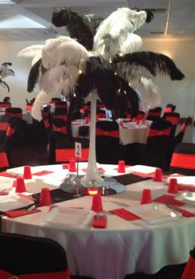 black and white feather centrepiece
