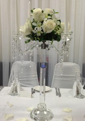 candelabra with flowers centerpiece