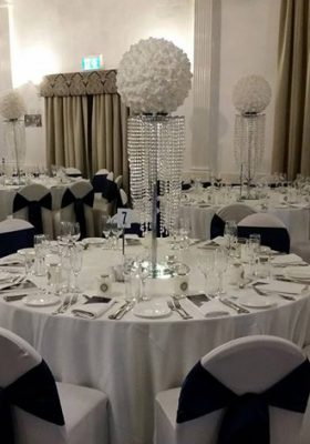 crystal chandelier and silk ball centrepiece