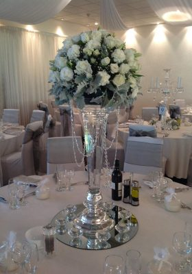 white and greenery with crystal beaded vase