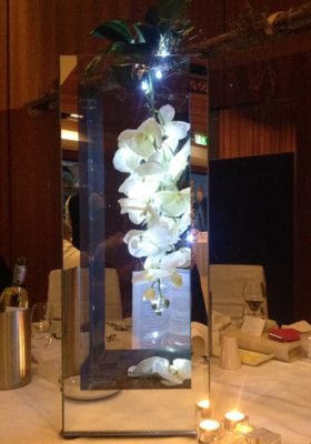 boxed orchid centrepiece