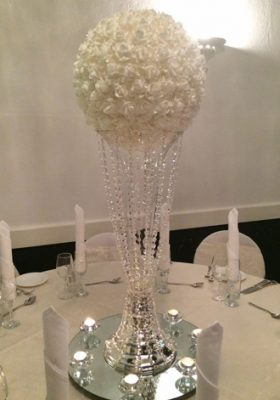 silk ball on crystal beaded vase
