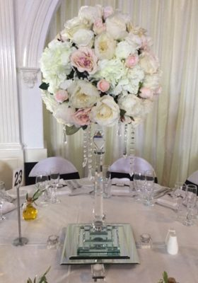 wedding reception silk flower centrepiece
