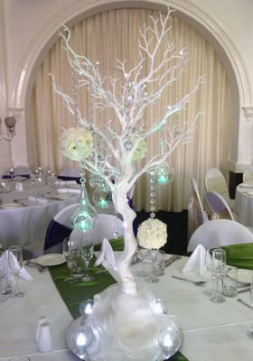 white tree with silk flowers and glass drops
