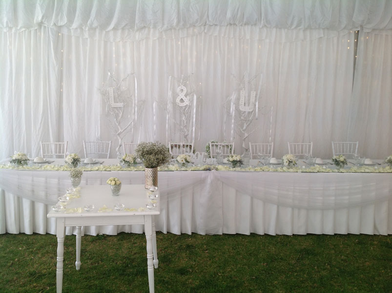 marquee bridal table hire Adelaide
