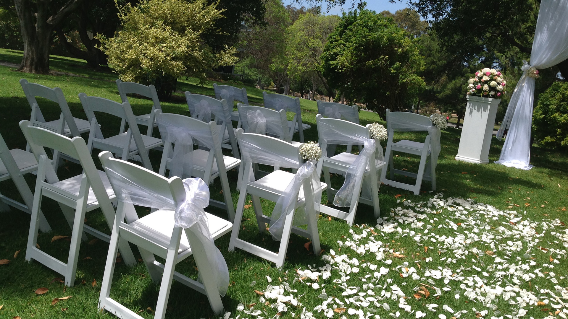 Garden or park wedding ceremony hire