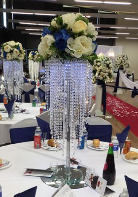 chandelier centrepiece with silk flowers