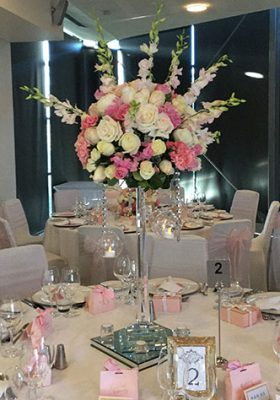 Crystal stand centrepiece with fresh flower arrangement