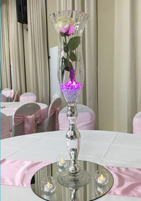 tulip vase centrepiece with single rose